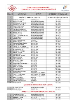 IP VE TELEFONLAR.xlsx - İzmir Kadastro Müdürlüğü