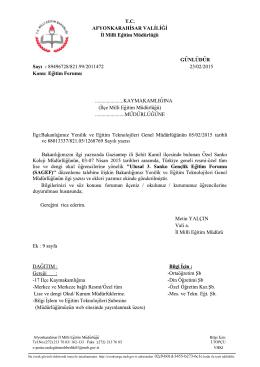 Müdürlüğümüzün konu ile ilgili 23/02/2015 tarih ve 2011472 sayılı