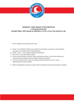 Basketbol Oyun Kuralları - Mehmet Akif Ersoy Üniversitesi