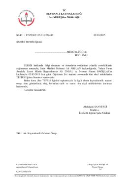 TEFBİS Eğitimi - reyhanlı ilçe millî eğitim müdürlüğü