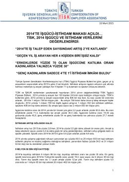 Tisk İşgücü Piyasası Bülteni - Yıllık 2014 Dökümanı İçin Tıklayınız