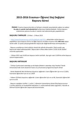 basvuru ilan - İTÜ Avrupa Birliği Merkezi, Erasmus Ofisi