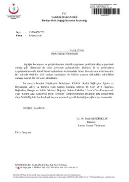 T.C. SAĞLIK BAKANLIĞI Türkiye Halk Sağlığı Kurumu Başkanlığı