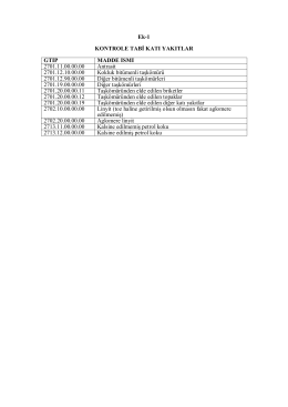 Ek-1 KONTROLE TABİ KATI YAKITLAR GTİP MADDE İSMİ 2701.11