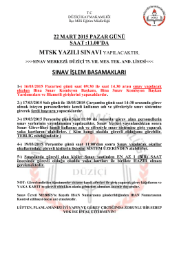 22 mart 2015 pazar günü saat - düziçi ilçe millî eğitim müdürlüğü