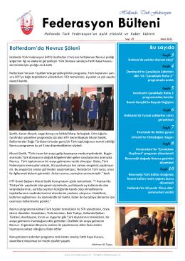 Federasyon Bülteni Sayı 29 - Mart 2015