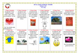 Nisan Ayı Mutlu Çocuk Etkinlik Takvimi
