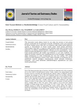 Girit Yemek Kültürü ve Sürdürülebilirliği (Cretan Food Culture and
