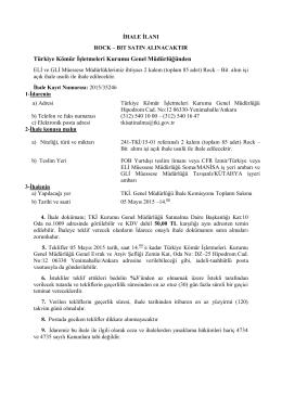 Türkiye Kömür İşletmeleri Kurumu Genel Müdürlüğünden