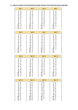tc inkılap tarihi ve atatürkçülük dersi yaprak testleri için cevap