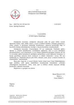 T.C. MİLLÎ EĞİTİM BAKANLIĞI Ortaöğretim Genel Müdürlüğü Sayı