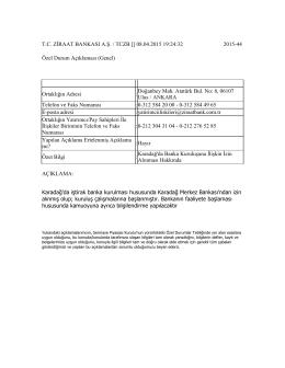 09.04.2015 Karadağ`da Banka Kuruluşuna İlişkin İzin Alınması Hk.
