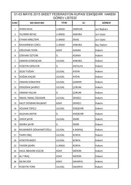01-03 mayıs 2015 skeet federasyon kupası eskişehir hakem görev