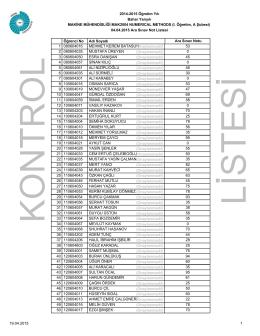 MAK2004 Numerical Methods Ara Sınav I.Öğretim