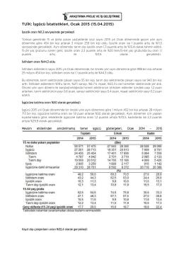 TUİK: İşgücü İstatistikleri, Ocak 2015 (15.04.2015)
