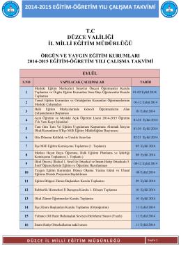 2014-2015 EĞİTİM-ÖĞRETİM YILI ÇALIŞMA TAKVİMİ