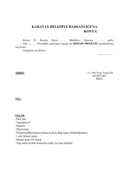 MIMARI PROJENIN - Karatay Belediyesi