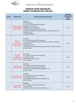 Bodrum Liman Başkanlığı Hizmet Standartları Tablosu