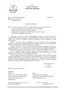 T.C. DÜZCE VALİLİĞİ İl Millî Eğitim Müdürlüğü 10.07/4033292 15/04