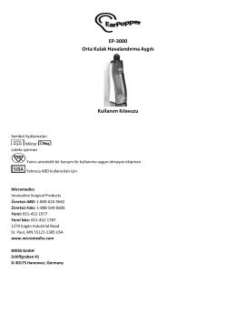 EP‐3000 Orta Kulak Havalandırma Aygıtı Kullanım Kılavuzu