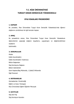 TKDYO Staj Esasları Prosedürü - Turgut Kıran Denizcilik Yüksekokulu