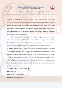 Gebe Okulu Çalışma Prosedürü - İzmir Güney Kamu Hastaneleri