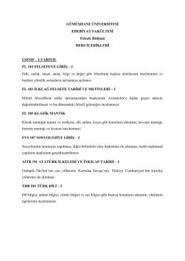 Ders İçerikleri - Gümüşhane Üniversitesi Edebiyat Fakültesi