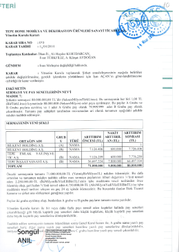 28.04.2014 (Yönlendirilmiş Mesaj) Esas Sözleşme