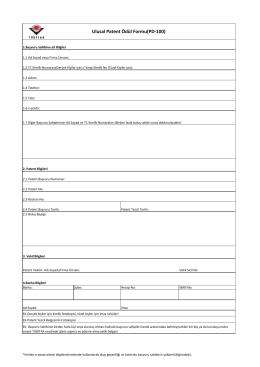Ulusal Patent Ödül Formu(PD-100)