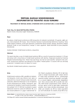 irritabl barsak sendromunun akupunktur ile tedavisi: olgu sunumu