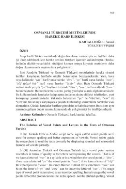 KARTALLIOĞLU, Yavuz-OSMANLI TÜRKÇESİ