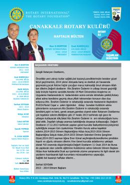 Bülten 24 - Çanakkale Rotary Kulübü