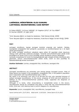 laringeal nörofibrom - Bozyaka Eğitim ve Araştırma Hastanesi