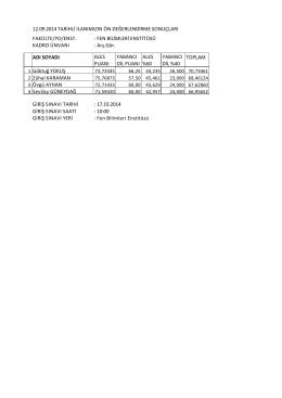 12.09.2014 tarihli ilanımızın ön değerlendirme sonuçları fakülte/yo