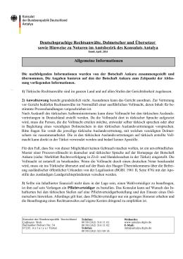 Deutschsprachige Rechtsanwälte, Dolmetscher und Übersetzer