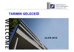 Tarımın Geleceğine Genel Bakış, Dr. Gürkan Erel – Frankfurt School