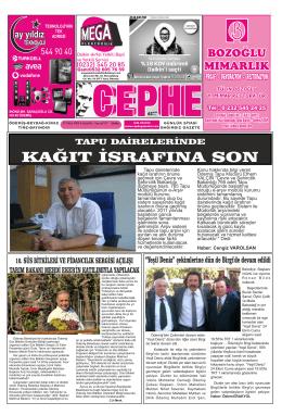 22.10.2014 Tarihli Cephe Gazetesi