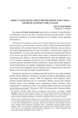 OĞUZ, Betül Bülbül-ORHUN YAZITLARINDA HİTAP