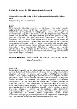 P12. Disiplinler Arası Bir Bilim Dalı: Biyoinformatik
