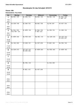 Stundenplan - Oskar Gründler Gymnasium
