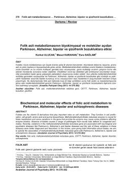 Folik asit metabolizmasının biyokimyasal ve