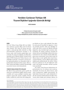 Yeniden Canlanan Türkiye-AB Ticaret İlişkileri Işığında
