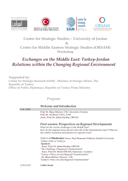 Exchanges on the Middle East: Turkey-Jordan Relations