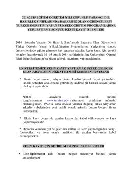 2014/2015 EĞİTİM ÖĞRETİM YILI ZORUNLU YABANCI DİL