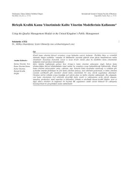 BK Kamu Kalite Yönetimi - A.Ü. Alanya İşletme Fakültesi Dergisi