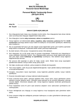 28 Eylül 2014 tarihinde yapılan Personel Müdür Yardımcılığı Sınavı