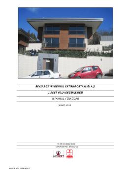 reysaş gayrimenkul yatırım ortaklığı a.ş. 1 adet villa değerlemesi