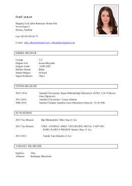 Ülkü Alkan CV imo - PlaceHolder for imoistanbul.org