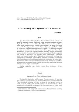 lozan barış antlaşması ve ege adaları