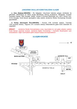 ULAŞIM KROKİSİ - Jandarma Genel Komutanlığı